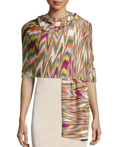 Wool Zigzag Wrap, Multicolor