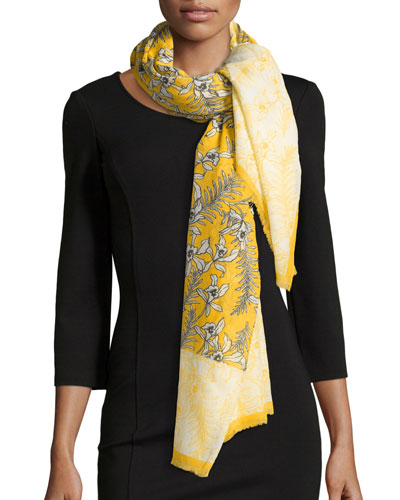 Floral Cotton-Blend Scarf, Marigold