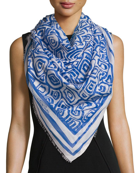 Oscar de la Renta Woven Abstract Scarf, Marine
