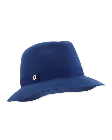 Ingrid Velvet Felt Fedora Hat, Sea Blue