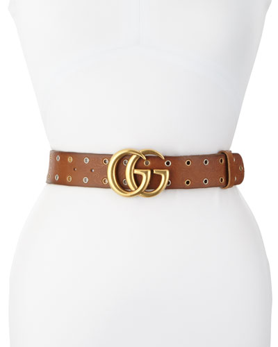 Grommet-Trim Leather Belt, Brown
