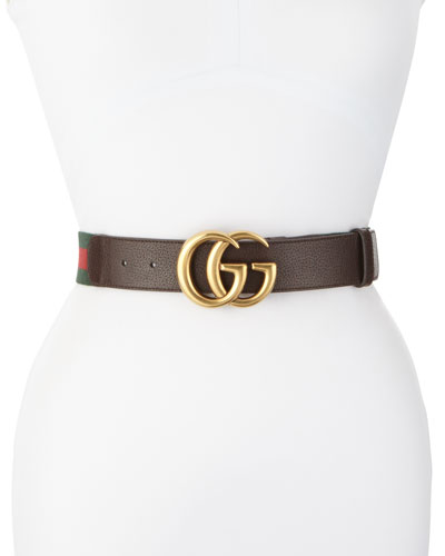 Wide Leather/Web Belt  Cocoa