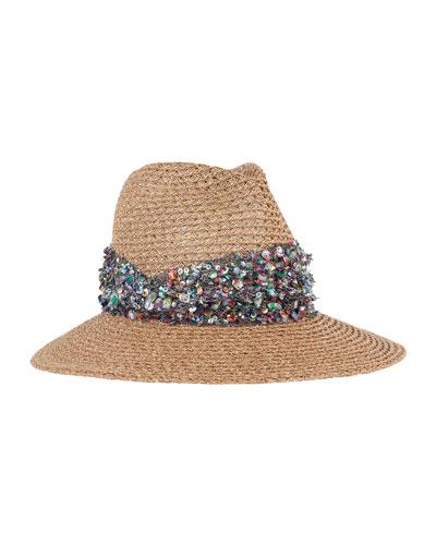 Gabriella Wide-Brim Fedora Hat, Camel