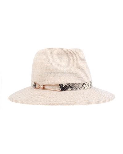 Courtney Wide-Brim Fedora Hat, Bone