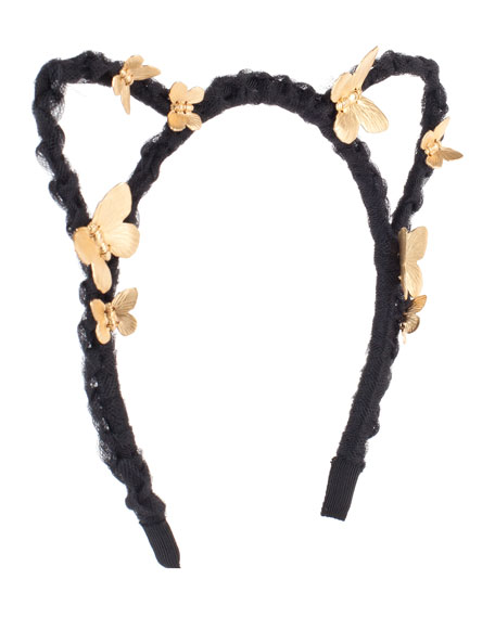 Josie Braided Cat-Ear Headband w/ Butterflies, Gold/Black