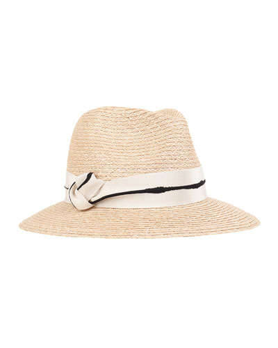 Lillian Fedora Hat w/ Knotted Band, Natural