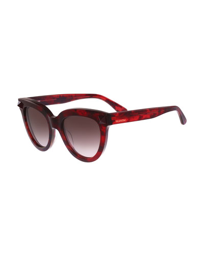 Gradient Square Tonal Stud Sunglasses