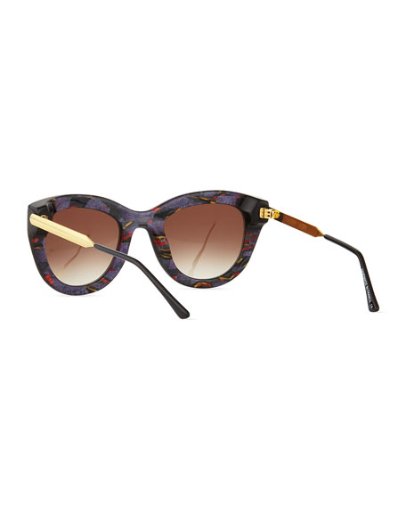 Cupidity Cat-Eye Sunglasses, Brown/Blue