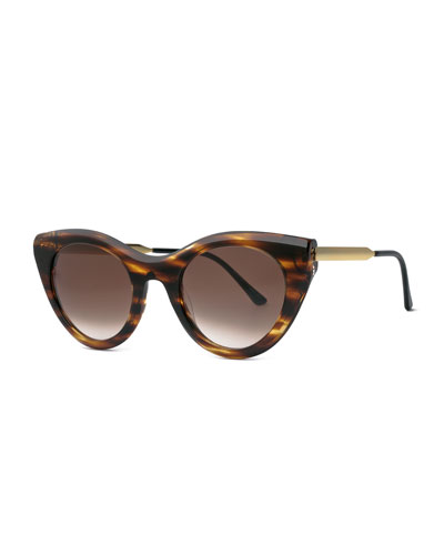 Streaked Perky Cat-Eye Sunglasses, Brown