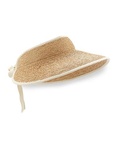 Mita Tie-Back Raffia Visor, Natural/Sand