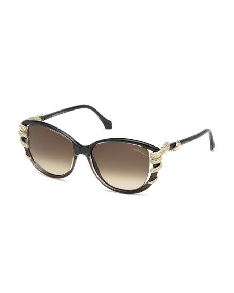Rhinestone-Snake Wrapped Temple Sunglasses