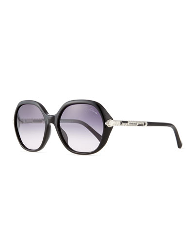 Round Butterfly Sunglasses, Black