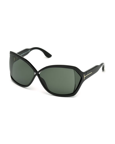 Julianne Crossed-Bridge Butterfly Sunglasses