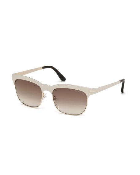 Elena Square Brow-Bar Sunglasses, Ivory