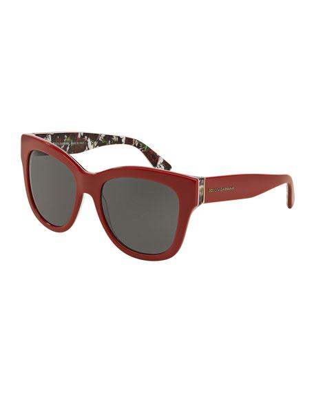 Square Acetate Sunglasses, Red