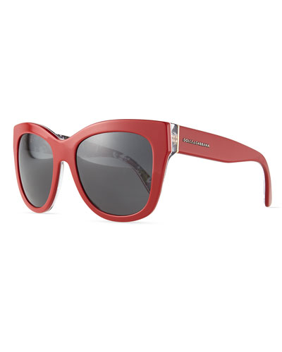 Square Acetate Sunglasses, Red