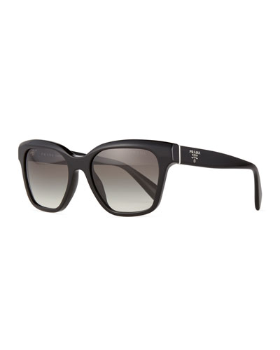 Square Acetate Logo Sunglasses