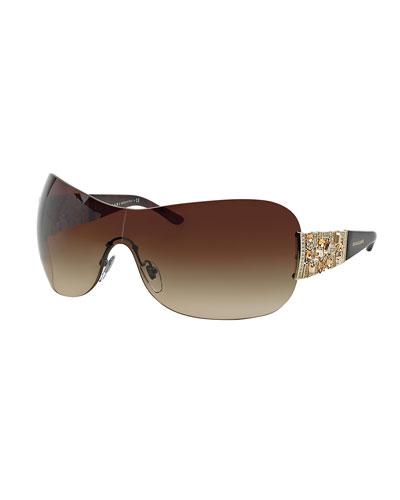 Rhinestone-Trim Shield Sunglasses, Havana
