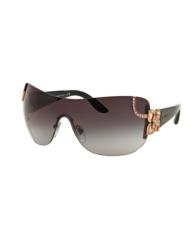 Floral-Trim Shield Sunglasses