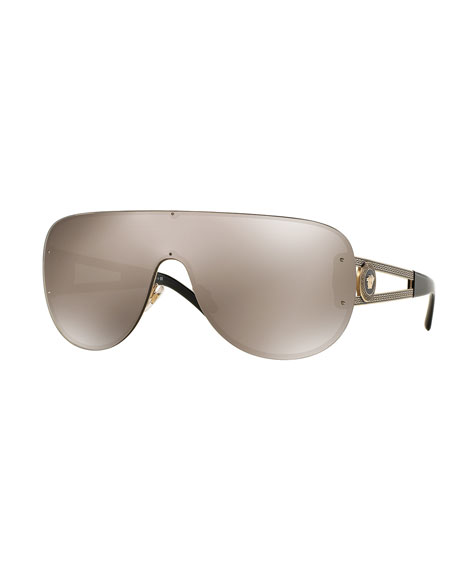 Mirrored Greek Key Shield Sunglasses, Golden Brown