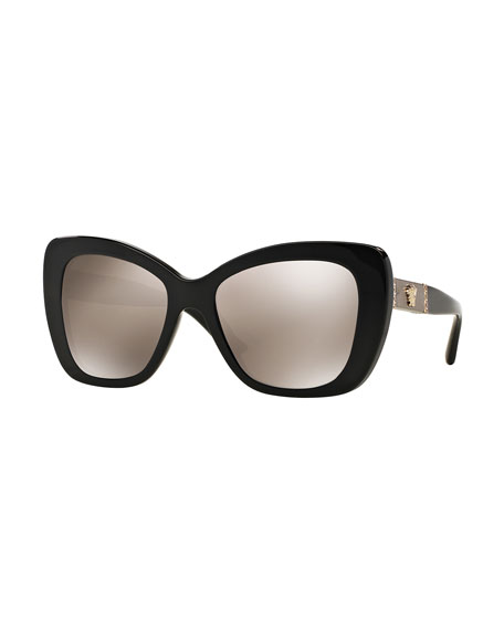 Versace Mirrored Oversize Cat-Eye Sunglasses, Black