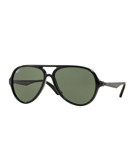 Plastic Aviator Sunglasses, Black