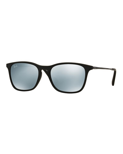 Junior Mirrored Wayfarer Sunglasses, Black/Silver