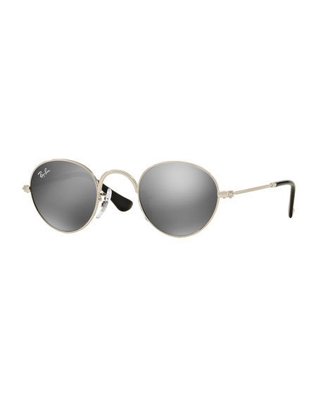 Junior Mirrored Round Sunglasses, Silver