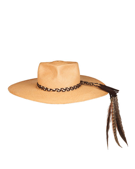 The Talitha Panama Straw Hat w/ Feathers, Cafe