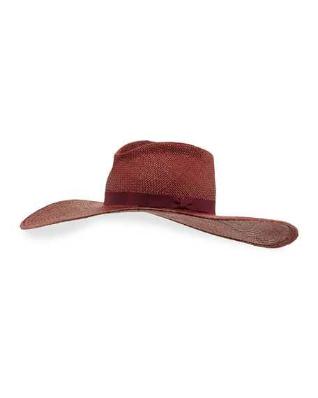The Daphne Straw Panama Sun Hat, Eggplant