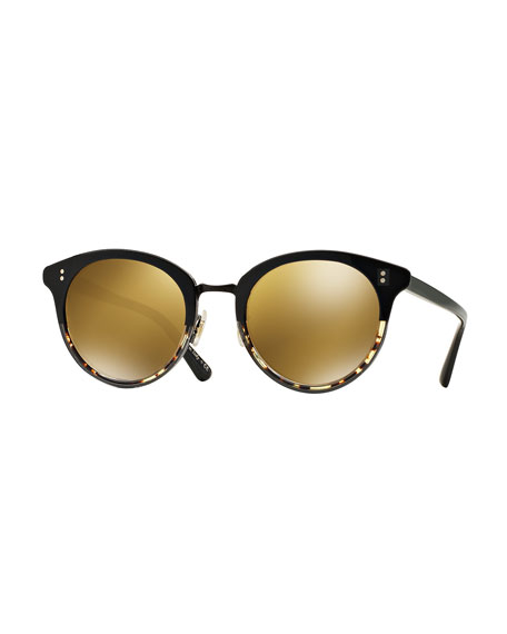Spelman Mirrored Sunglasses, Black/Brown Gold