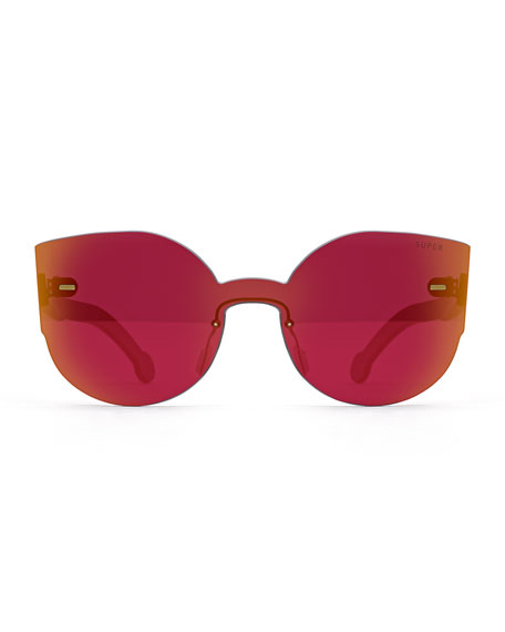 Tuttolente Lucia Cat-Eye Iridescent Sunglasses, Red