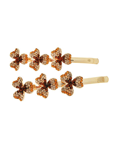 Triple Mariposa Rhinestone Bobby Pins, Set of Two