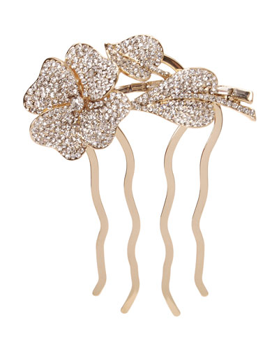 Rhinestone Flower Chignon Comb, Light Gold