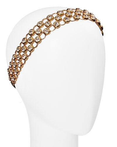 Isabella Adjustable Metallic-Mesh Rhinestone Head Wrap