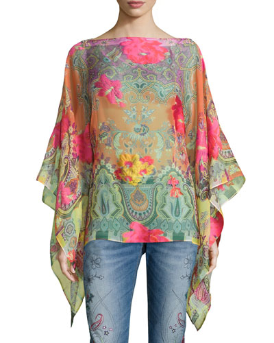 Long-Sleeve Coral Rose Poncho, Multi