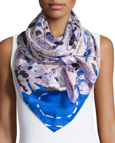 Moon Map Silk Twill Scarf, Pink/Blue