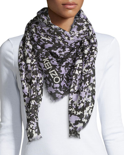 Faded Sand Camo-Print Square Scarf, Light Purple