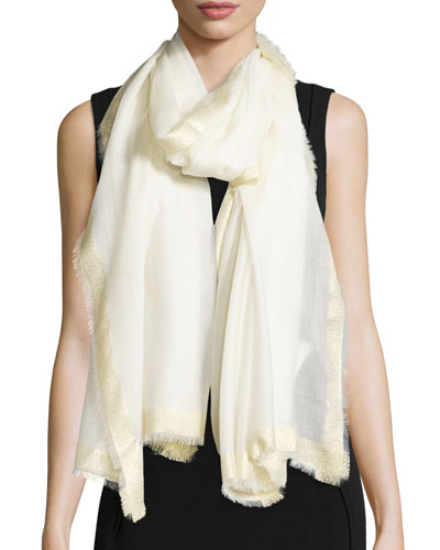 Metallic-Trim Sheer Wool Scarf, Ivory/Gold