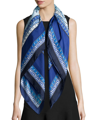 Zen-Print Silk Square Scarf, Midnight