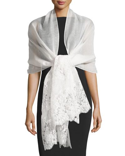 Lace-Trim Silk-Blend Shawl, Ivory