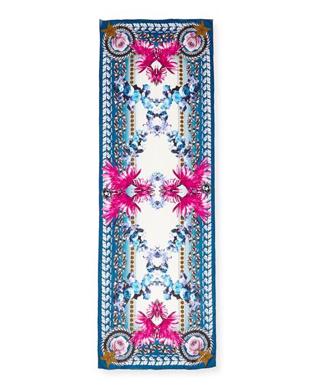 Paradise Flower Silk Chiffon Scarf, Blue