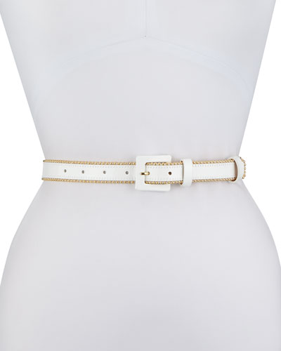 Thin Beaded Leather Belt, White