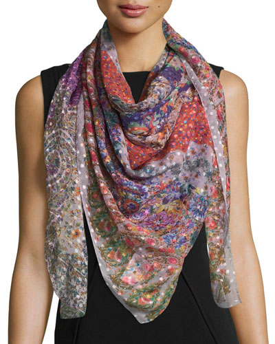 Bomba Floral Polka-Dot Patch Scarf, Berry