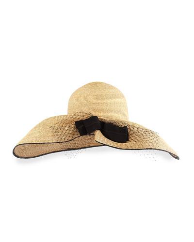 Iris Straw Hat w/ Netting, Natural