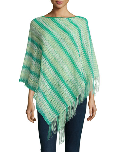 Wool-Blend Zigzag Fringe Poncho, Green