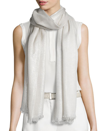 Duo Soffio Cashmere-Blend Evening Stole, Silver Cloud