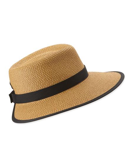 Sun Crest Woven Sun Hat, Natural/Black