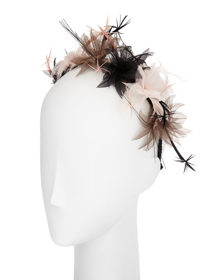 Gigi Burris Paradise Organza/Feather Cluster Headband/Fascinator,