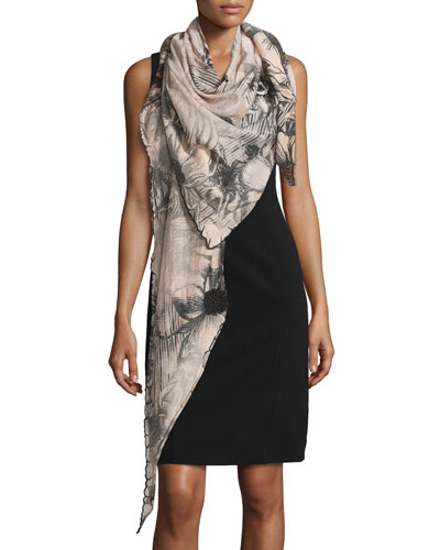 Botanica Floral Cotton-Blend Scarf, Rose/Black